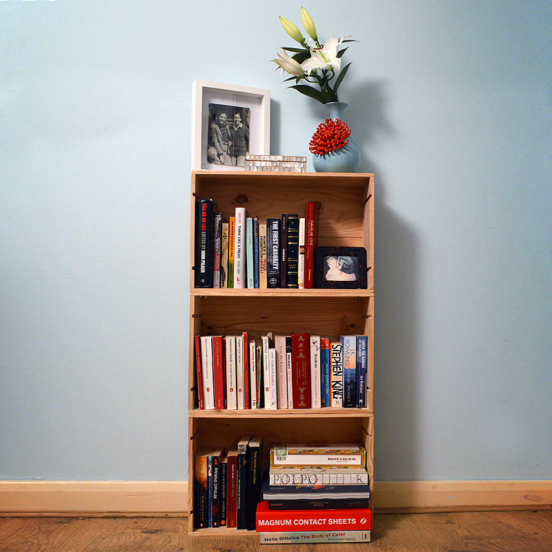 Small, and practical- all decked out with books and picture frames