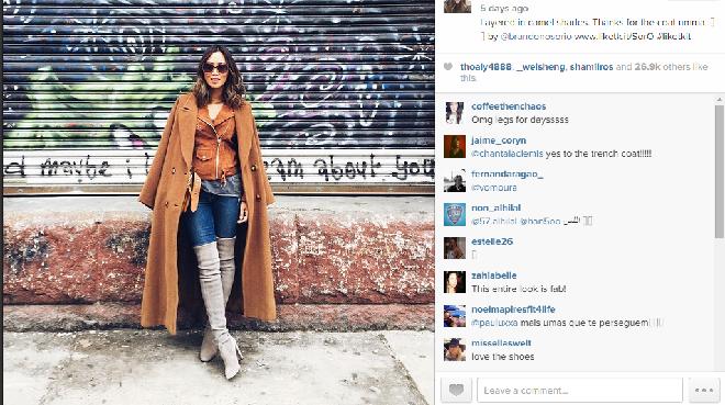 Aimee Song rocks and Old MaxMara coat
